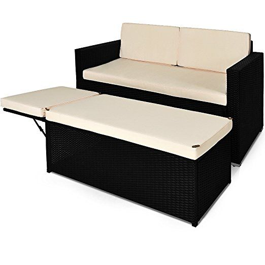 Cool Poly Rattan Sofa Sun Lounger Day Bed Outdoor Patio Ottoman Machost Co Dining Chair Design Ideas Machostcouk