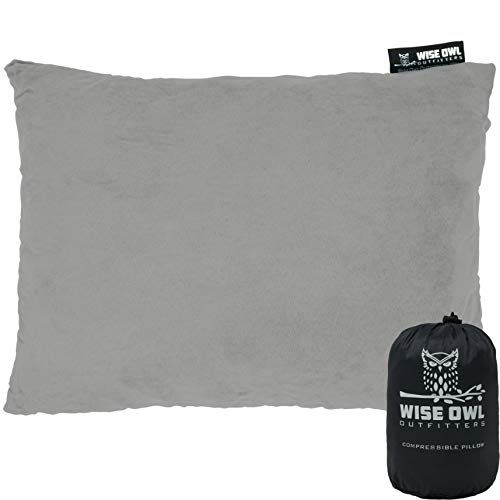 Wise Owl Outfitters Camping Pillow Compressible Foam Pillows – Use When Sleeping in Car, Plane Travel, Hammock Bed & Camp – Adults & Kids – Compact Small & Large Size – Portable Bag – SM Grey | All4Hiking.com