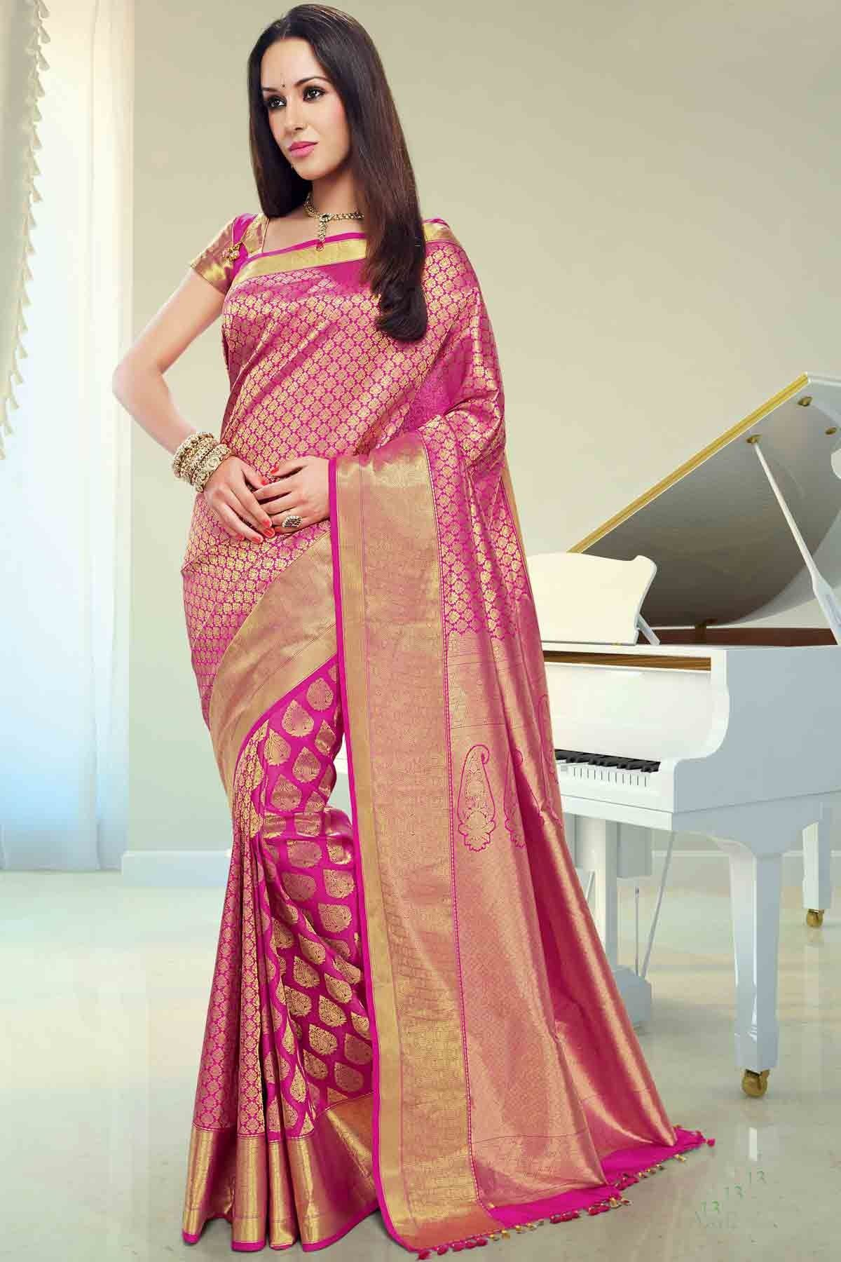 Pink Silk Brocade Zari Weaved Saree In Golden Border For Wedding Online Ping