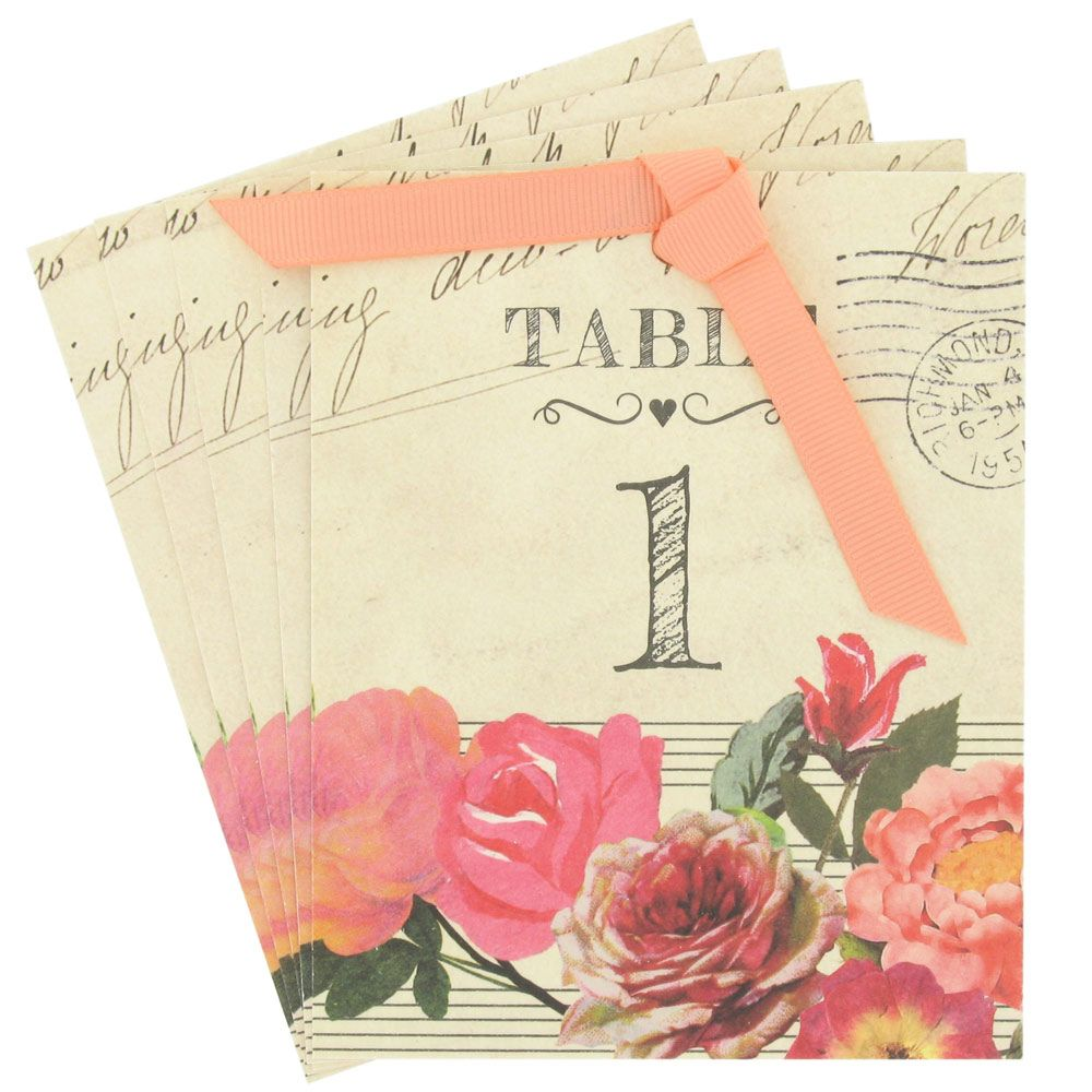 Roses Wedding Table Numbers Pack Of 12 From Paperchase