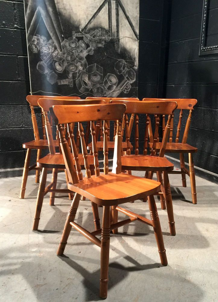Country farmhouse chunky pine dining chairs set of 6 ideal