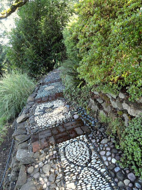 pebble mosaic path Salem OR. photo Loree Bohl. Garden