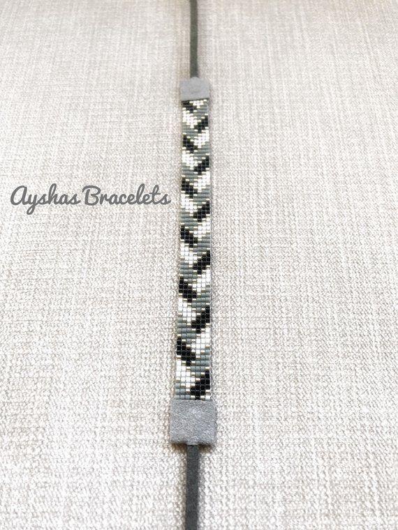 White Black Grey and Silver Miyuki Bracelet / Beaded