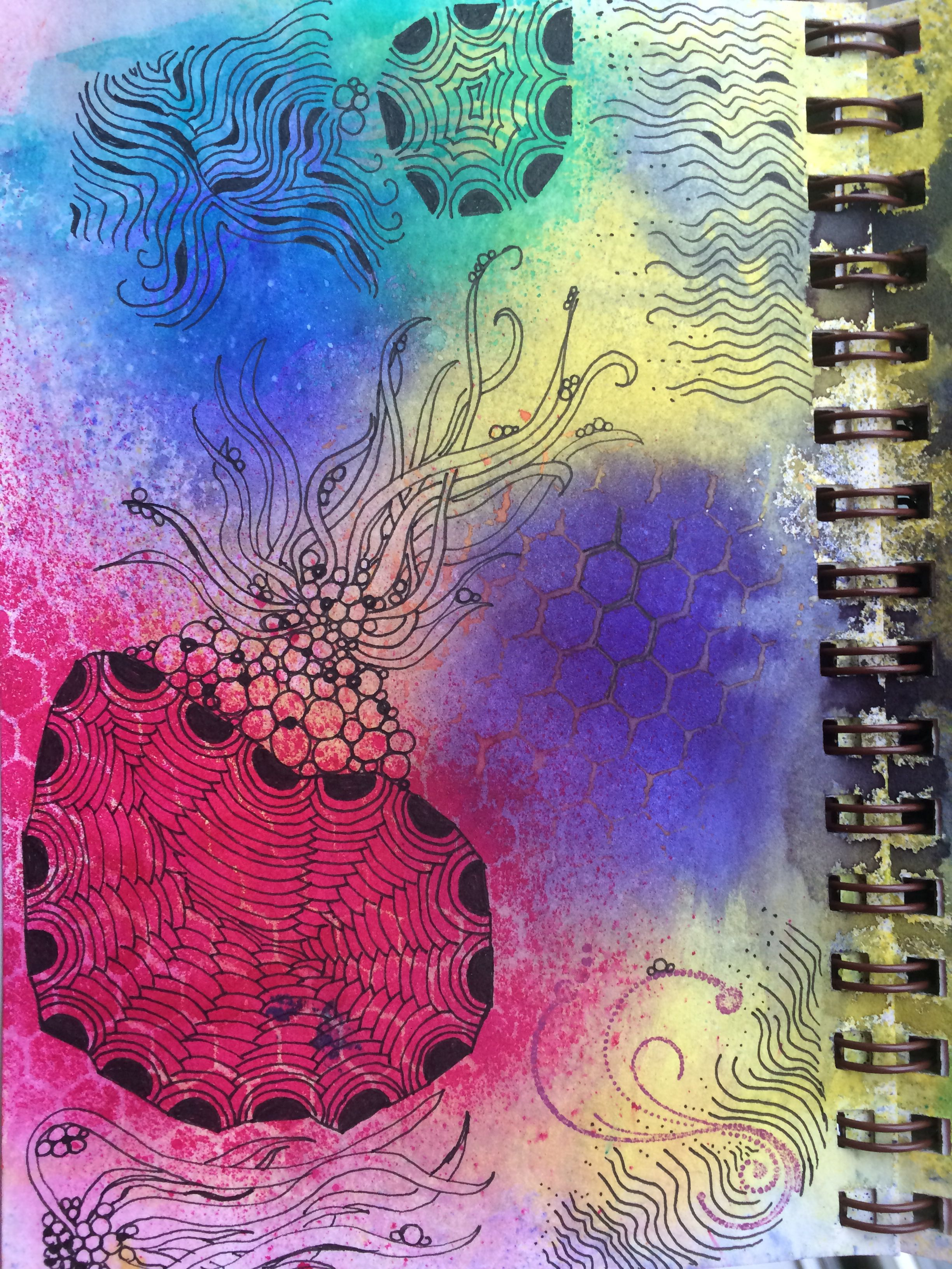 Day 10 - dylusions spray ink & micron pen