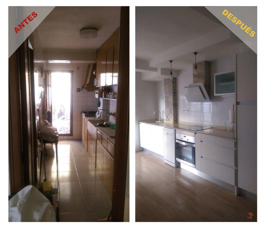 Reforma de cocina antes y despu s muebles blancos con for Azulejos para cocina