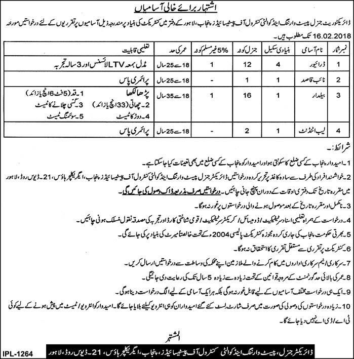 Directorate General Paste Warning And Quality Control Of Pesticides Jobs 2018 In Lahore For Driver And Lab Attendant https://www.jobsfanda.com/directorate-general-paste-warning-quality-control-pesticides-jobs-2018-lahore-driver-lab-attendant/