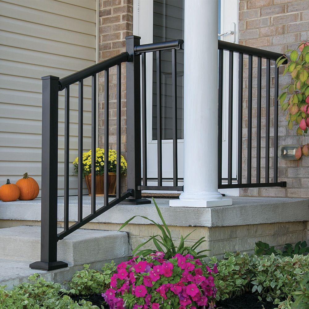 Freedom Common 6 Ft Actual 2 95 In X 2 25 In X 5 77 Ft 6 Ft | Aluminum Railings For Front Steps | Budget Porch | Concrete | Construction | Wood | Modern