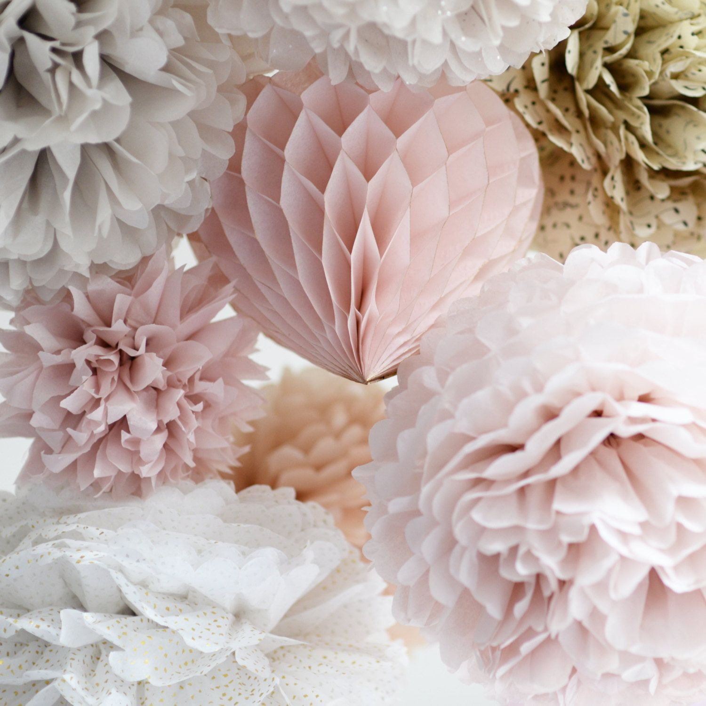 "Small paper pom poms set  22cm//8/"" custom colors-wedding party decor-lanters"