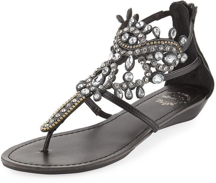 48a51ad87c Premium Collection by Yellow Box P-Araminta Embellished Wedge Sandal, Black