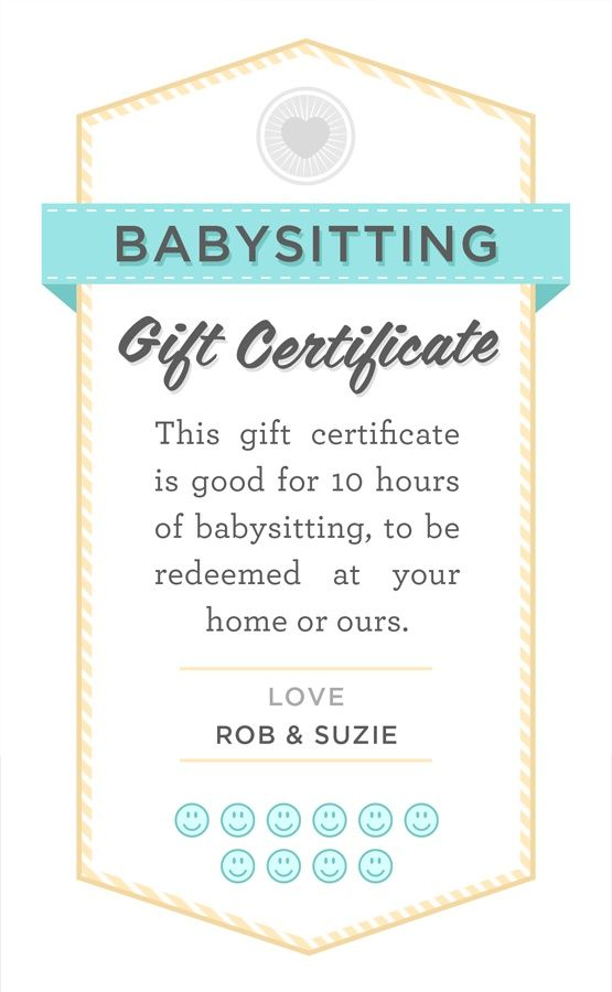 Babysitter date night printable babysitting gift for Babysitting gift certificate template