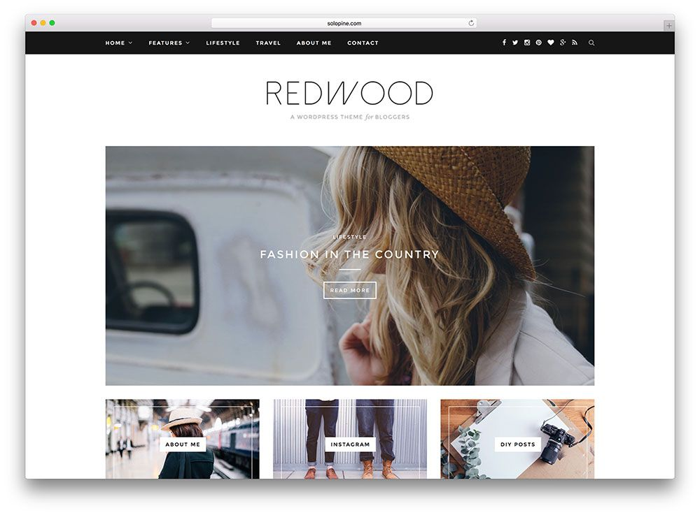 Redwood beautiful fashion blog wordpress theme | Photography ...