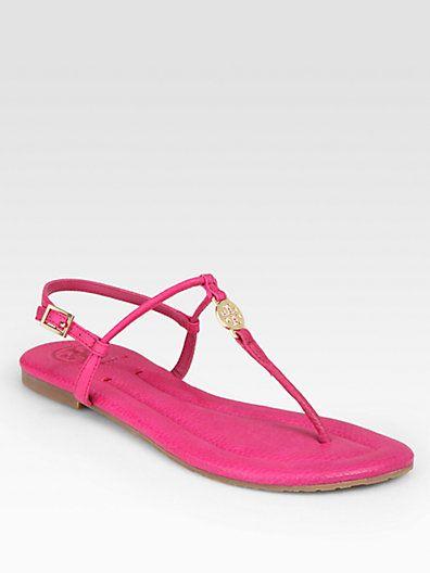 Tory Burch - Emmy Leather Thong Logo Sandals - Saks.com
