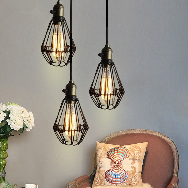 Find more pendant lights information about vintage iron black find more pendant lights information about vintage iron black pendant light cage lampshade hanging lamps e27 droplight retro bar kitchen light fixtures home workwithnaturefo