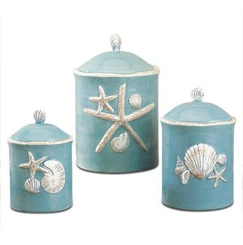 Shell Canisters Beach Themed