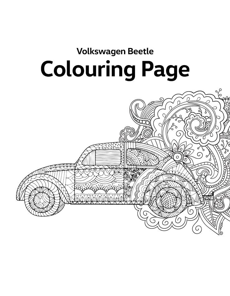 Download the printable Volkswagen Beetle Colouring Page