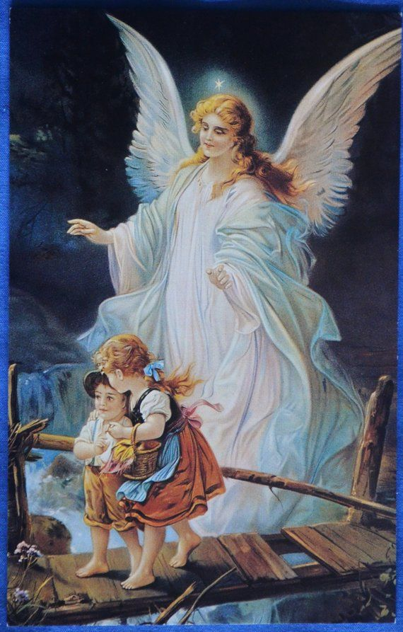 Art Guardian Angel Guards Children Walking On Bridge 1993 Repro