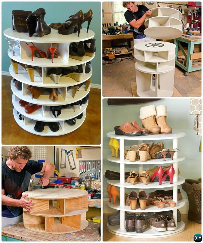 diy rotating lazy susan shoe rack free plan instruction