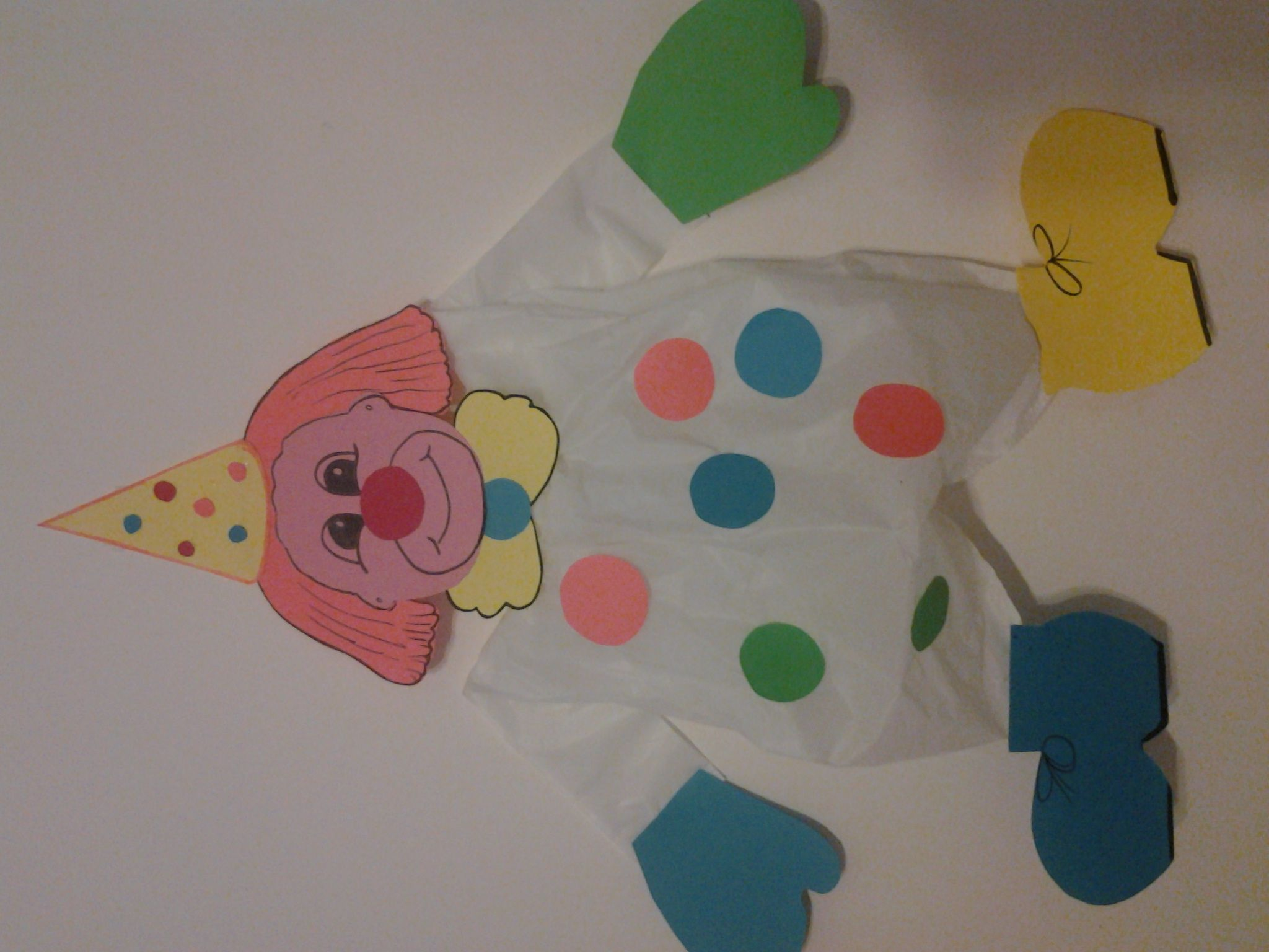 A funny clown to decorate the walls of the room Paper and plastic the materials for it. Dimensions: 55 x 35 cm