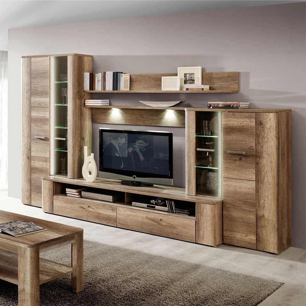 tv wand in eiche antik dekor beleuchtung 5 teilig jetzt bestellen unter https moebel. Black Bedroom Furniture Sets. Home Design Ideas