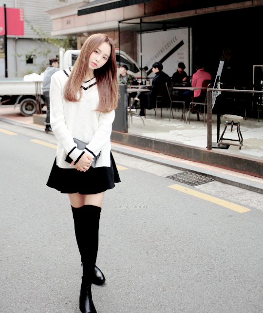 ce1acb3fa1f92 {classic schoolgirl sweater} {black skirt} {thigh-high black socks} {black  boots}