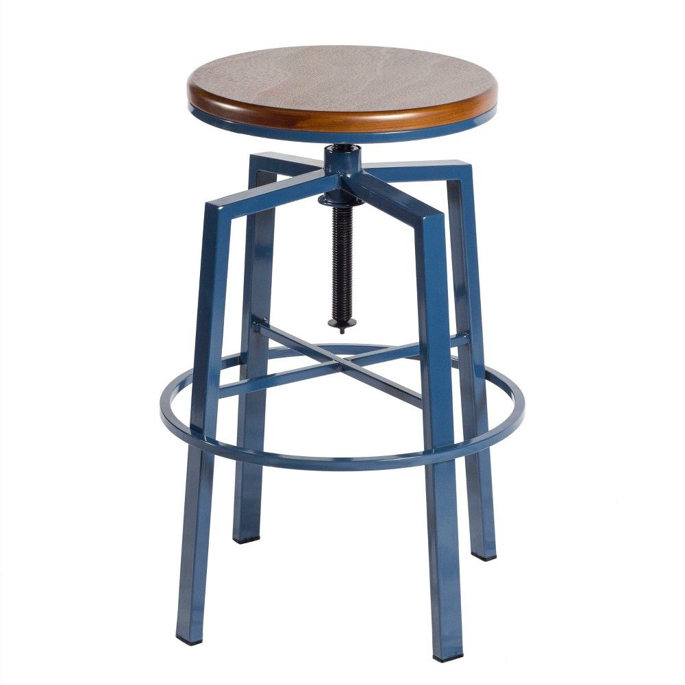 Terrific Dorian Backless Adjustable Height Barstool Navy Steve Machost Co Dining Chair Design Ideas Machostcouk