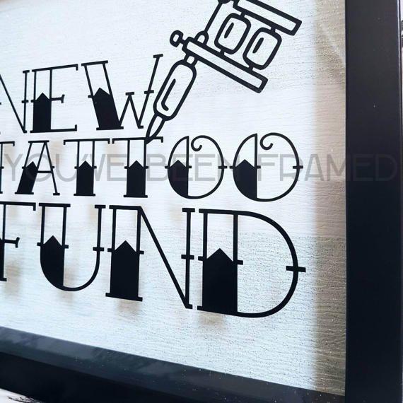 New Tattoo Fund Money Box Frame Savings Glitter Stripe Background