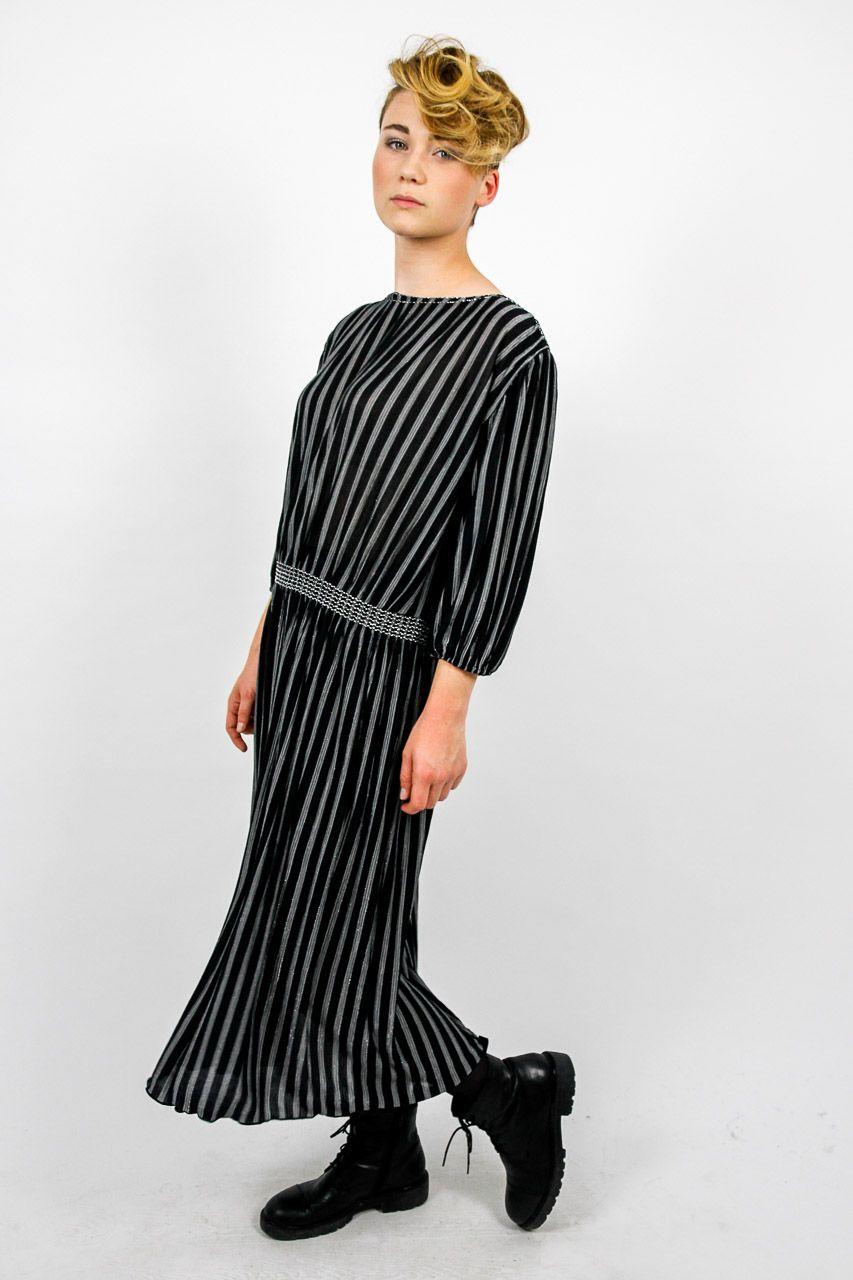 vintage abend kleid schwarz silber gestreift bodenlang