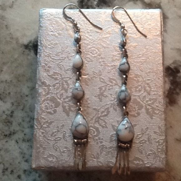 925 Sterling WHITE TURQUOISE EARRINGS ARTISAN CRAFTED STAMPED STERLING ON BACK Santa Fe Style Jewelry Earrings