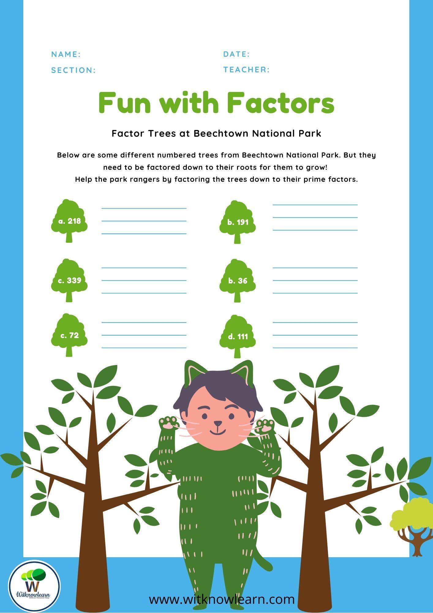 Fun With Factors Factorsworksheet In