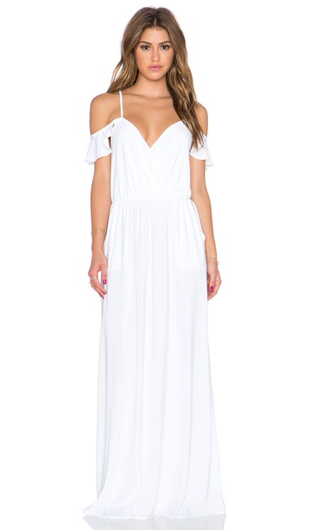 T-Bags LosAngeles Cold Shoulder Maxi Dress in White | REVOLVE ...