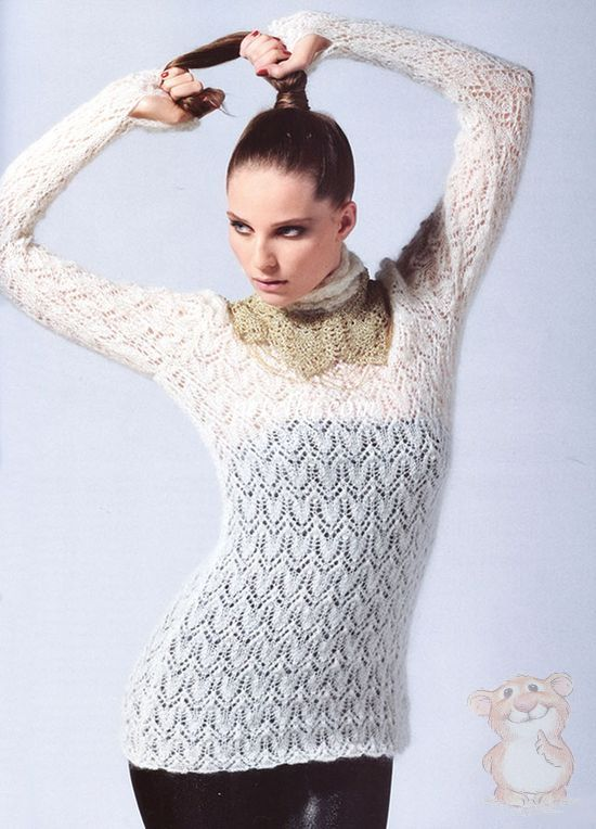 Вязание свитер из тонкой пряжи 228