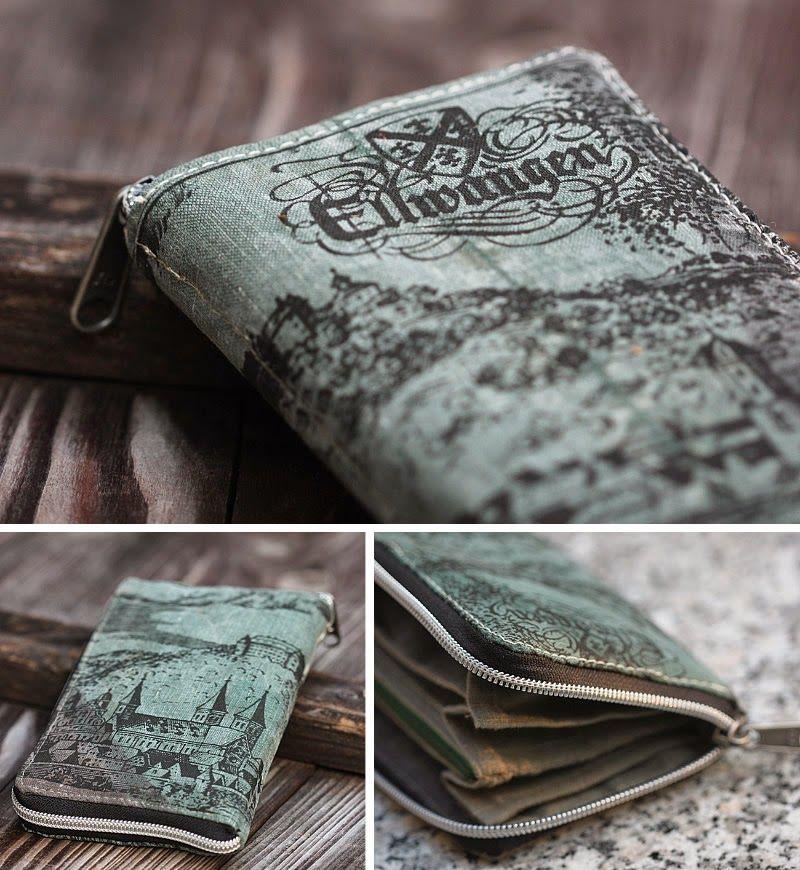 Grete-Geldbeutel aus bedrucktem schwedischem Waldtarn. Innen russisches Leinen.