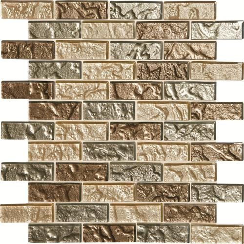 Mohawk Phase Mosaics Stone And Glass Wall 3 X 1 Tile Brickjoint 10 98 Each For 12 By 12 Brown Glass Tile Brown Glass Tile Backsplash Glass Mosaic Tiles