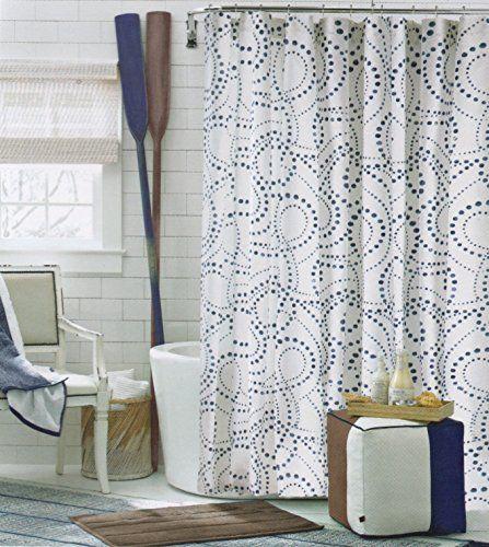 Tommy Hilfiger Cotton Shower Curtain California Dot Navy Blue