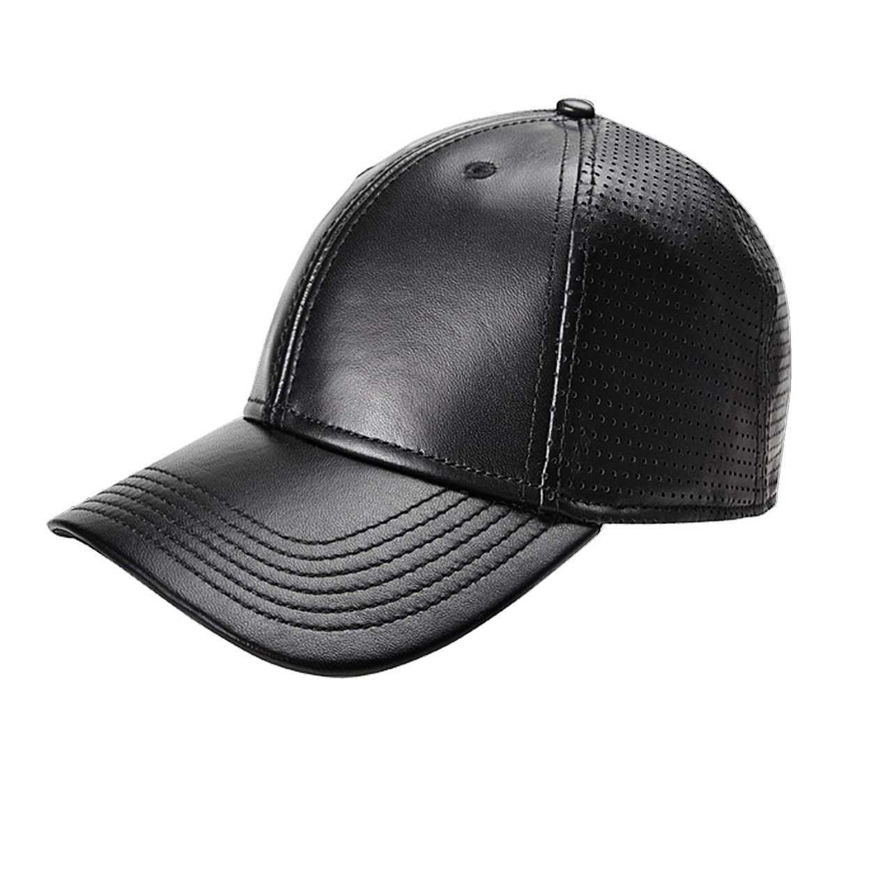 Perforated Leather Baseball Cap Black Leather Baseball Cap Perforated Leather Cap