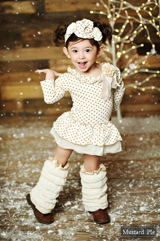 Mustard Pie Clothing - Baby Cozette Dress & Cover Set in Golden Vanilla Holiday