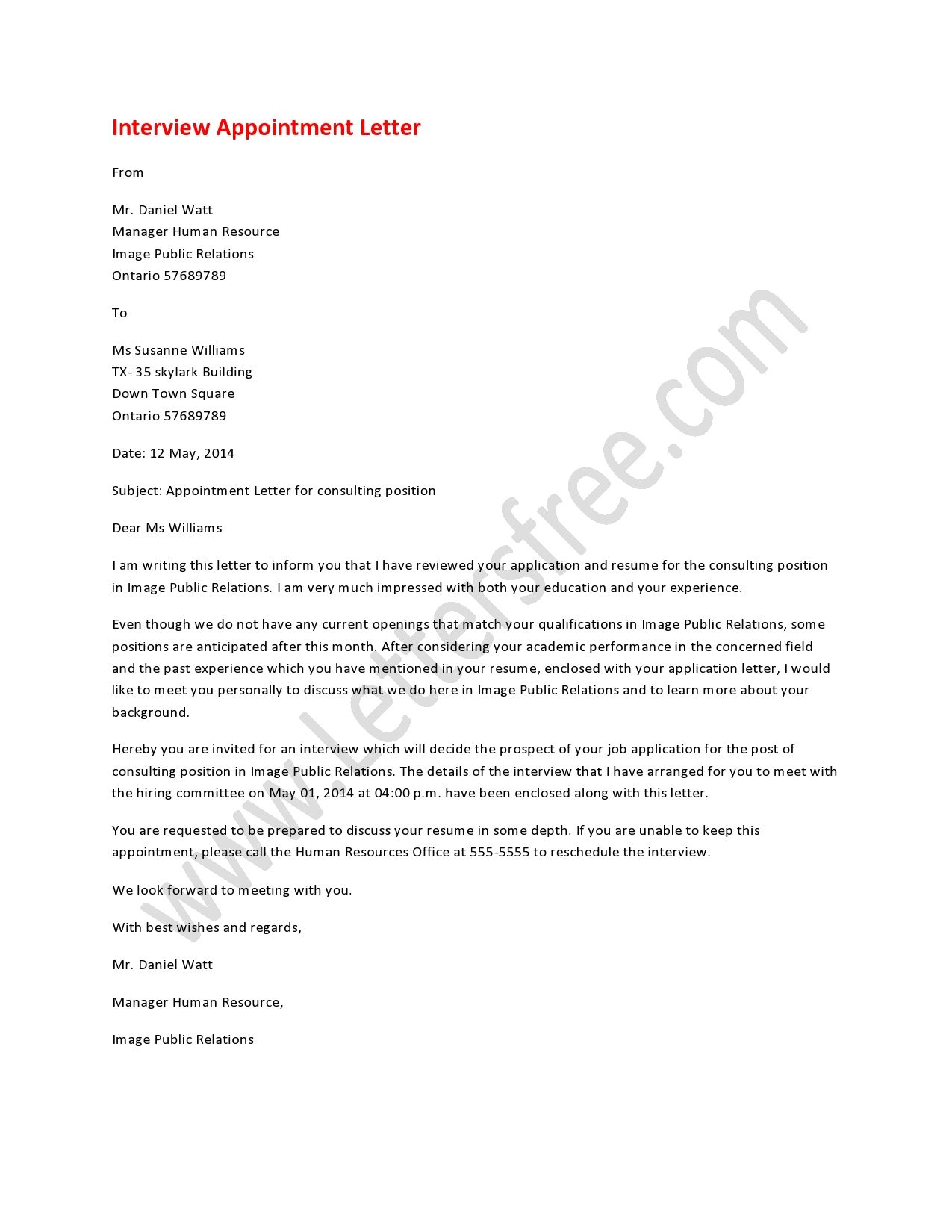 Interview appointment letter writing help students and math an interview appointment letter is usually addressed to the aspirant employee by the employer with the intention of an interview altavistaventures Gallery