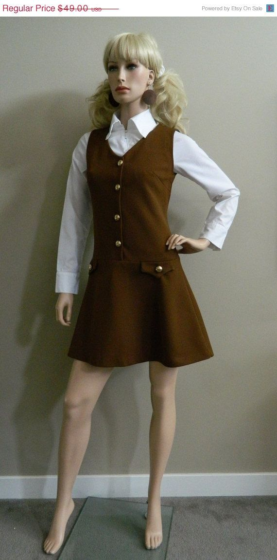 c0e9f444f5e 60 s Mod Pinafore Scooter Dress Chocolate Brown with Gold Button ...