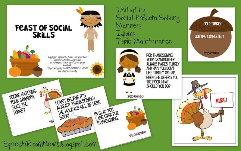 Speech Room News: Thanksgiving Social Skills: Initiating
