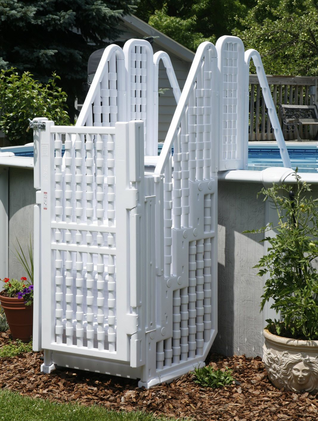 Above Ground Pool With Gates . Large Kid Safe Swimming Steps Ladder