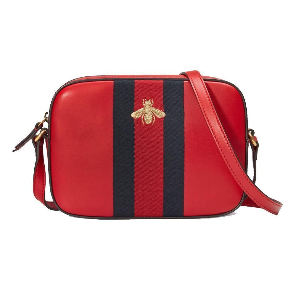22888f1a2a6 Gucci Bee Women s Red Leather Blue Web Crossbody Bag 412008