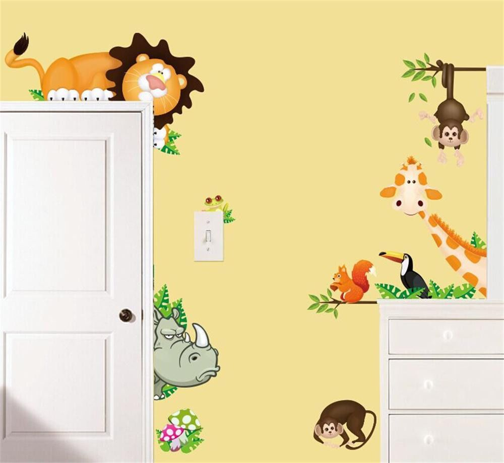 Jungle Wild Animals Art Decal Childrens Bedroom Decor Baby Nursery ...