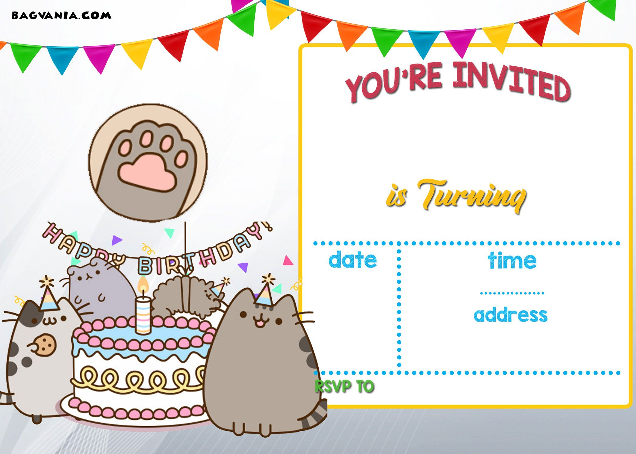 free printable pusheen birthday invitation template drevio invitations design