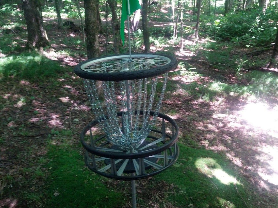Disc golf basket made from bicycle wheel howto video