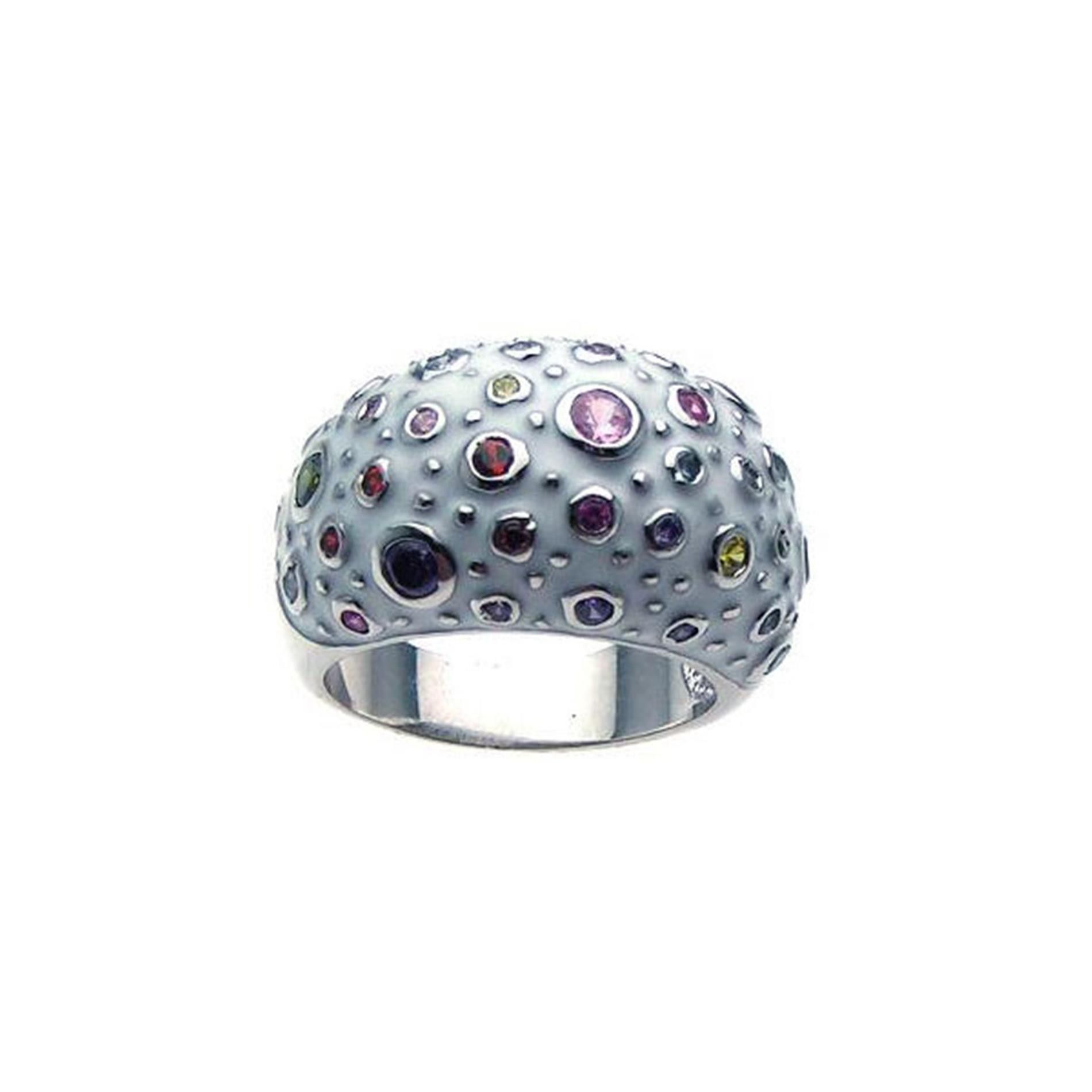 925 Sterling Silver Ladies Jewelry White Enamel Multi Color Ring: Size: 5
