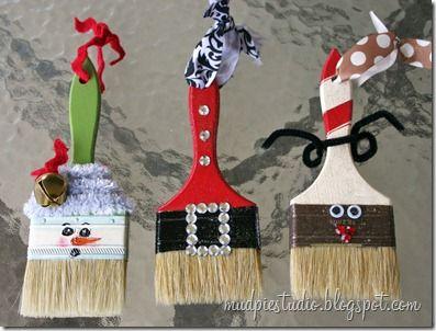 Mud Pie Studio Paintbrush Ornaments Christmas Ornaments Homemade Christmas Crafts Xmas Crafts