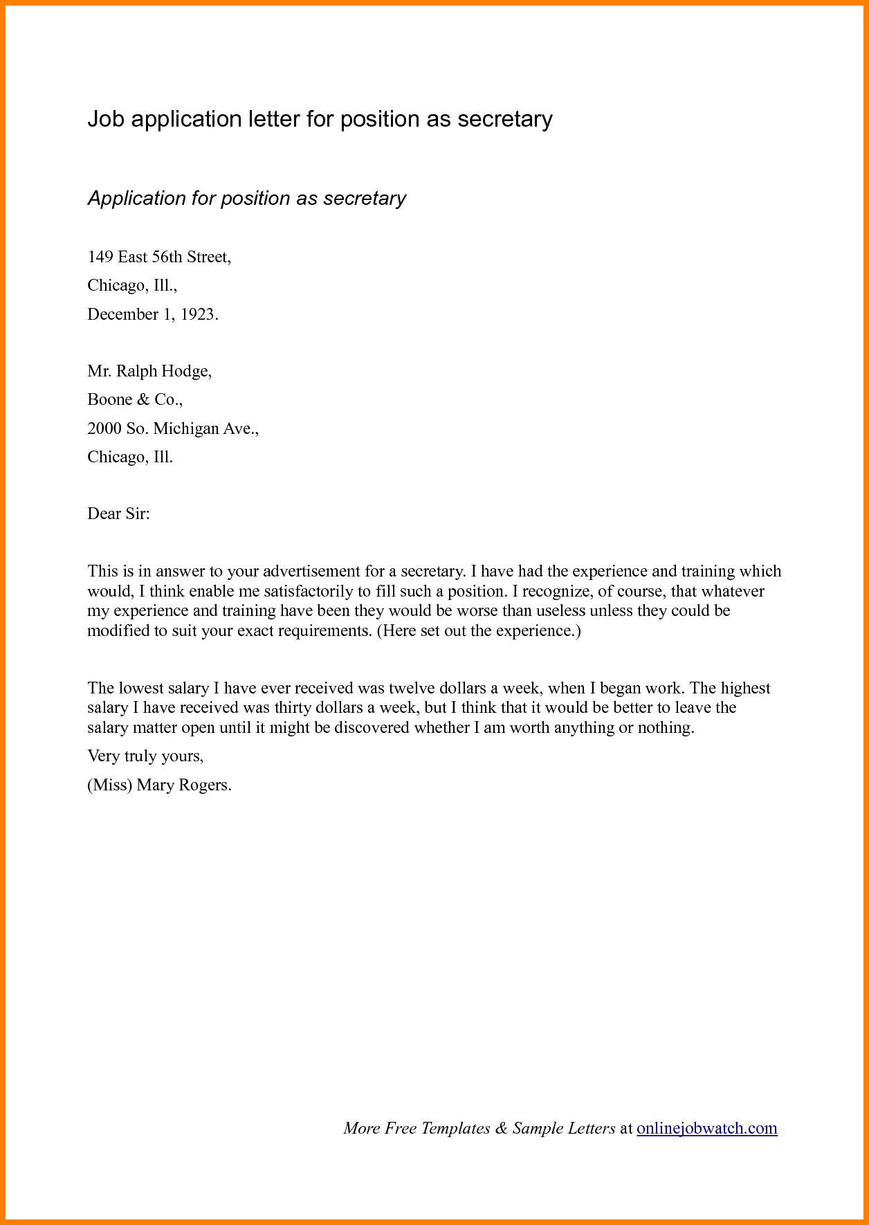 Job Application Letters Example Business Letter For Ojt  Home