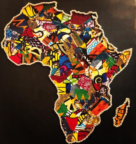 Africa map in african wax print | Products in 2019 | Africa map