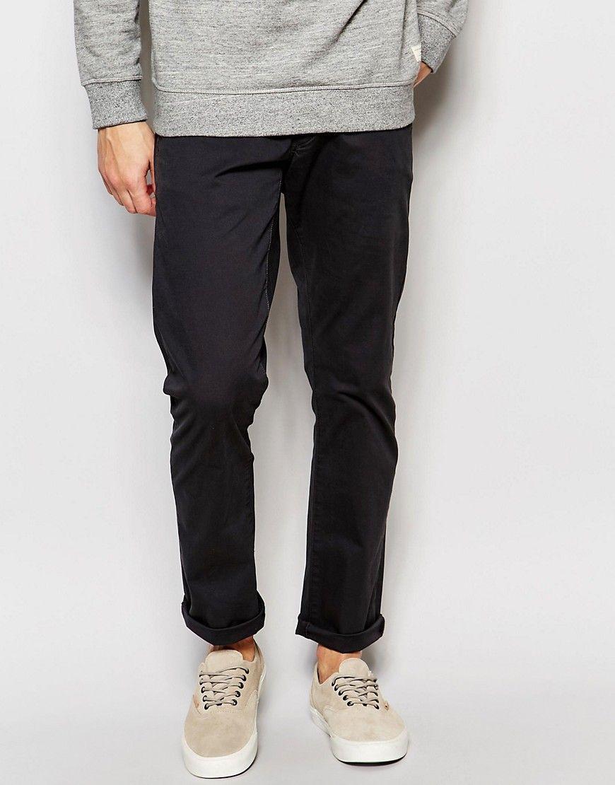 Seje Selected Homme Chinos In Regular fit - Phantom Selected Homme Bukser til Herrer i dejlige materialer