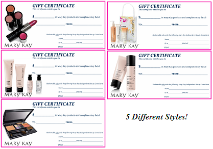Mary Kay Flyers  Mary Kay Assorted Gift Certificates  Mary Kay